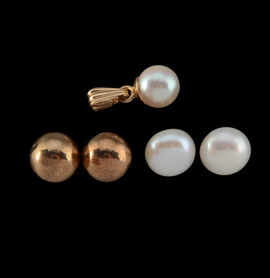 14k Yellow Gold Studs, 14k Pearl Drop Pendant, And 14k Button Pearl Earrings