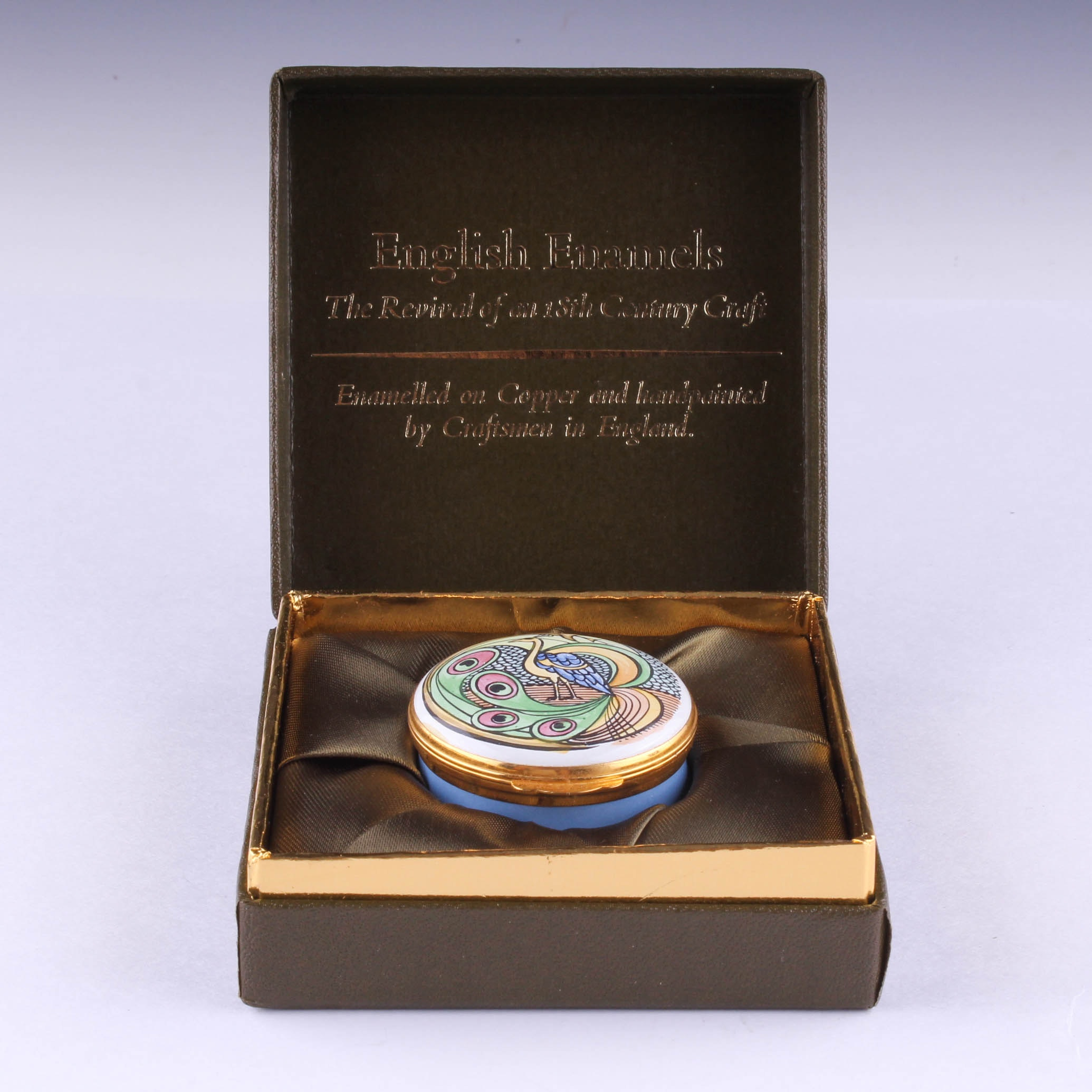 Hand-Painted Enamel Trinket Box by Crummles & Co.