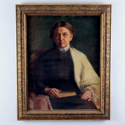 Caroline Lord Signed 1902 Oil Portrait of Eliza Wright Lord