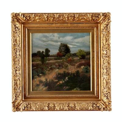 "Ben Foster 20th Century Oil on Canvas ""Western Landscape"""