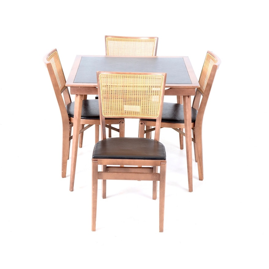 Mid Century Stakmore Folding Card Table And Chairs