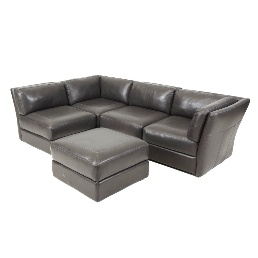 chateau du0027ax five piece grey leather sectional