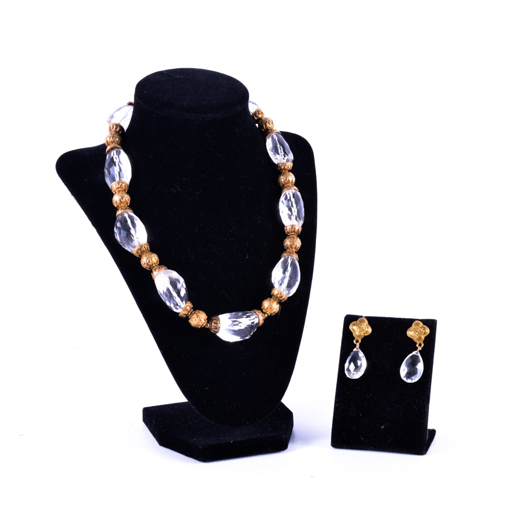 Glass Bead Gold Tone Necklace and Earrings Set