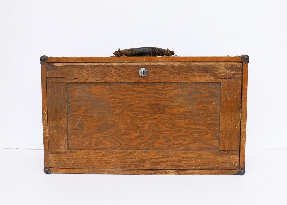 Vintage Wood Machinists' Locking Tool Box