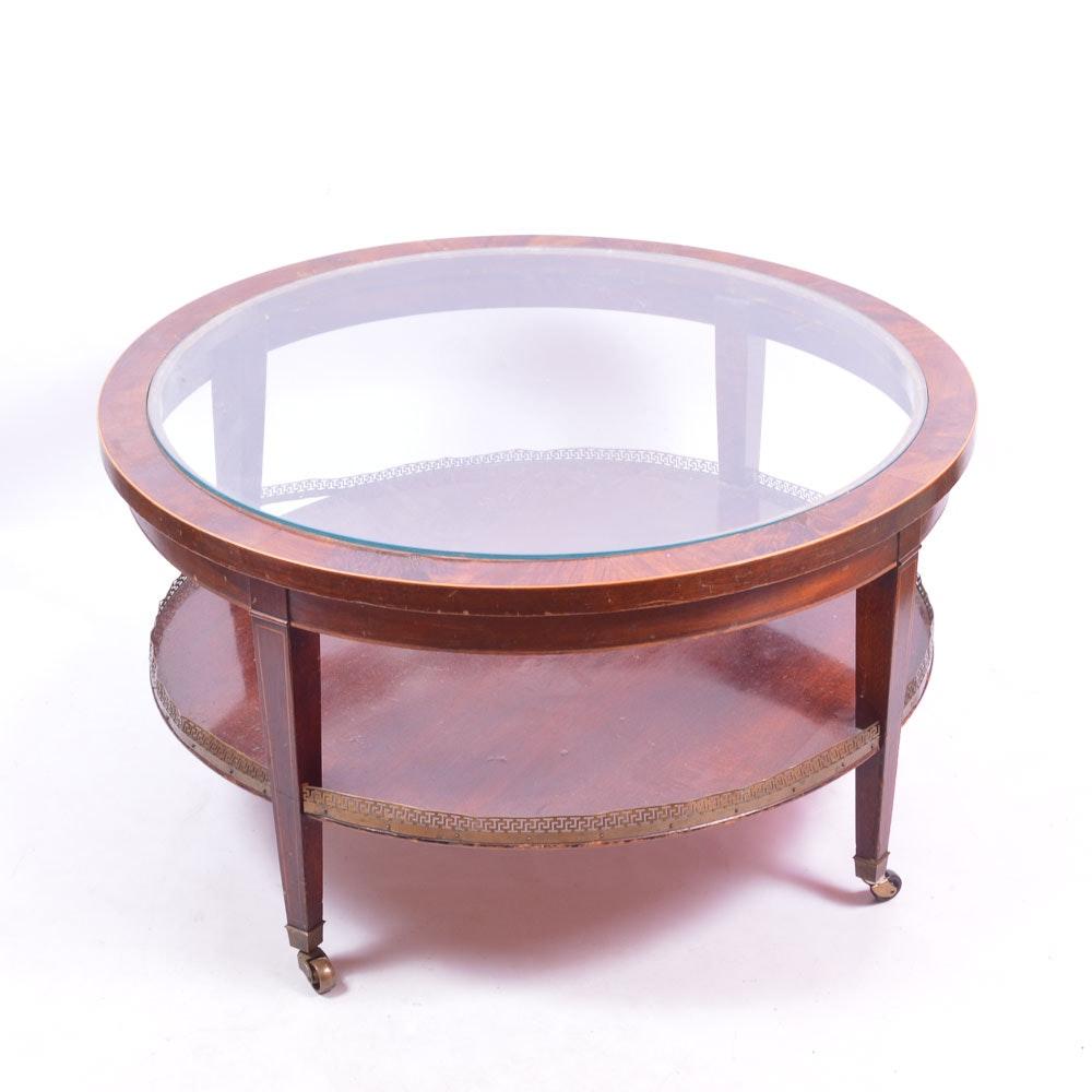 mid century brandt glass top mahogany coffee table : ebth