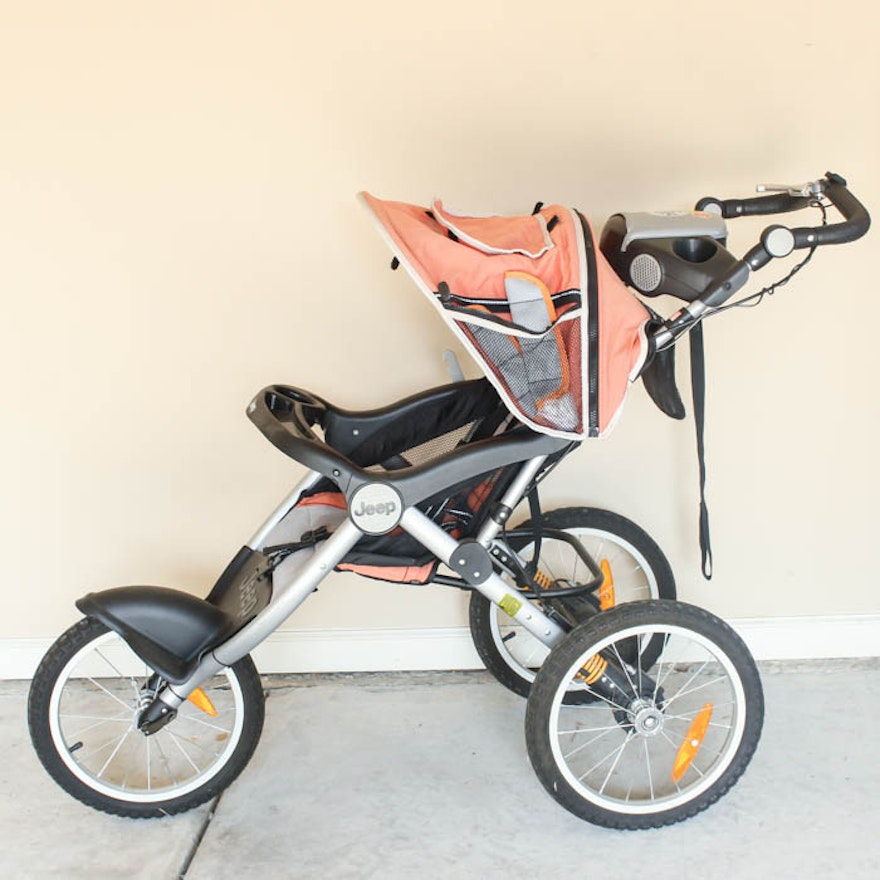 jeep overland music on the move orange jogging stroller : ebth