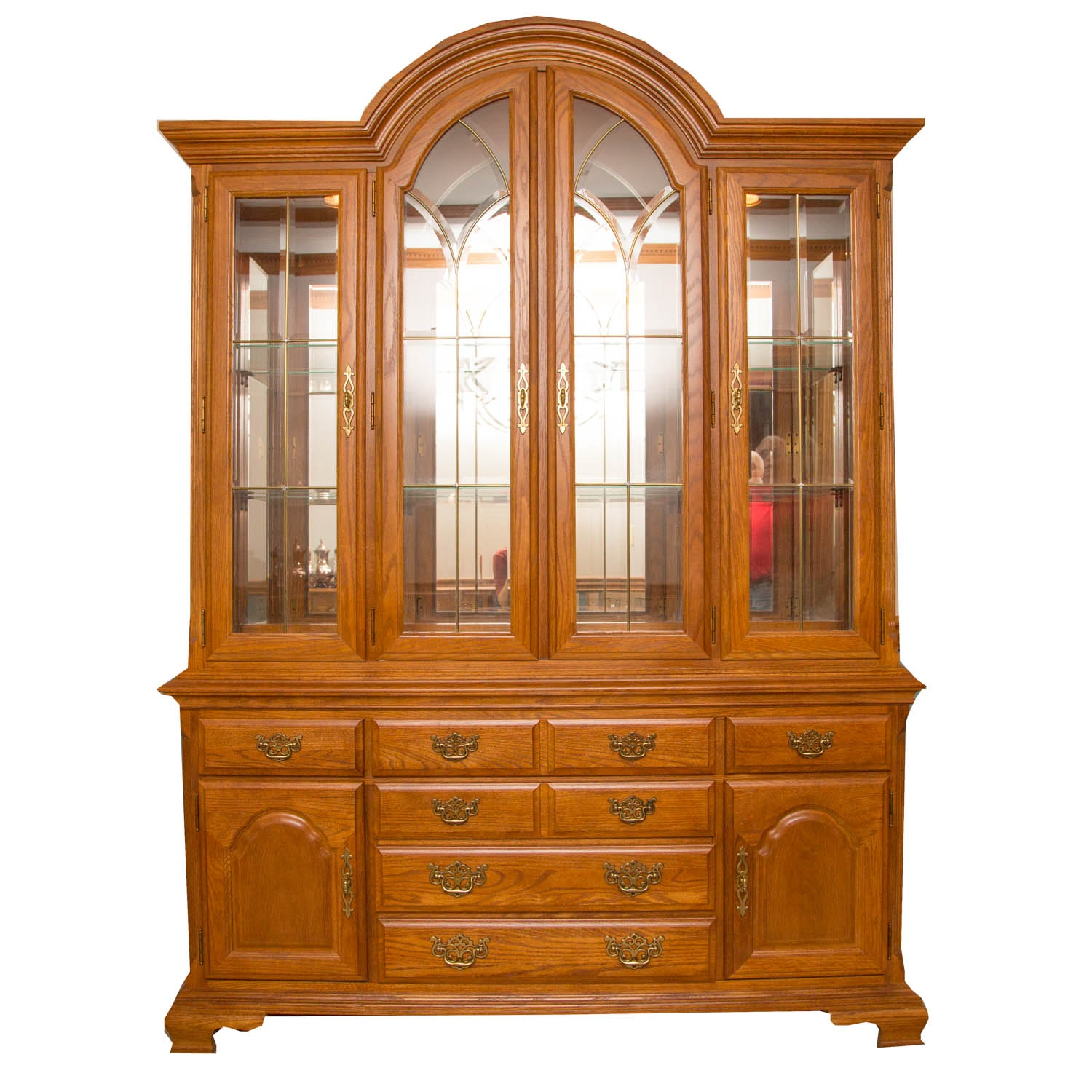 Awesome Stanley Mirrored Oak China Cabinet ...