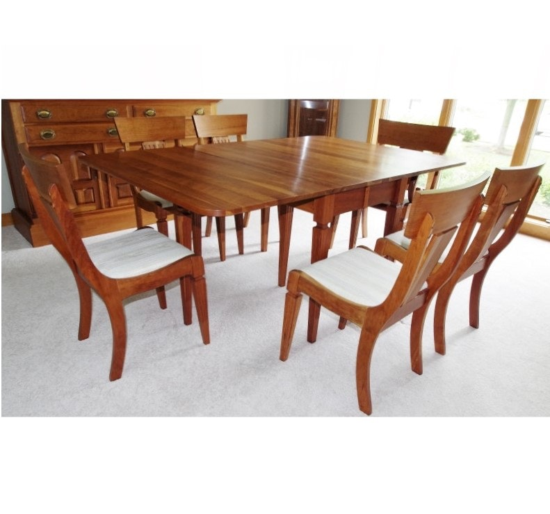 solid cherry dining table and chairs custom built by sampler furniture co