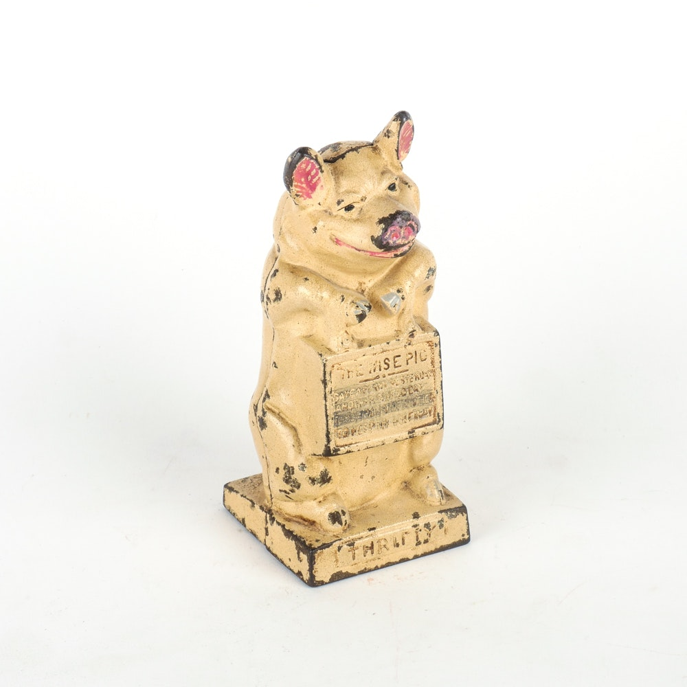 The Wise Pig Cast Iron Bank