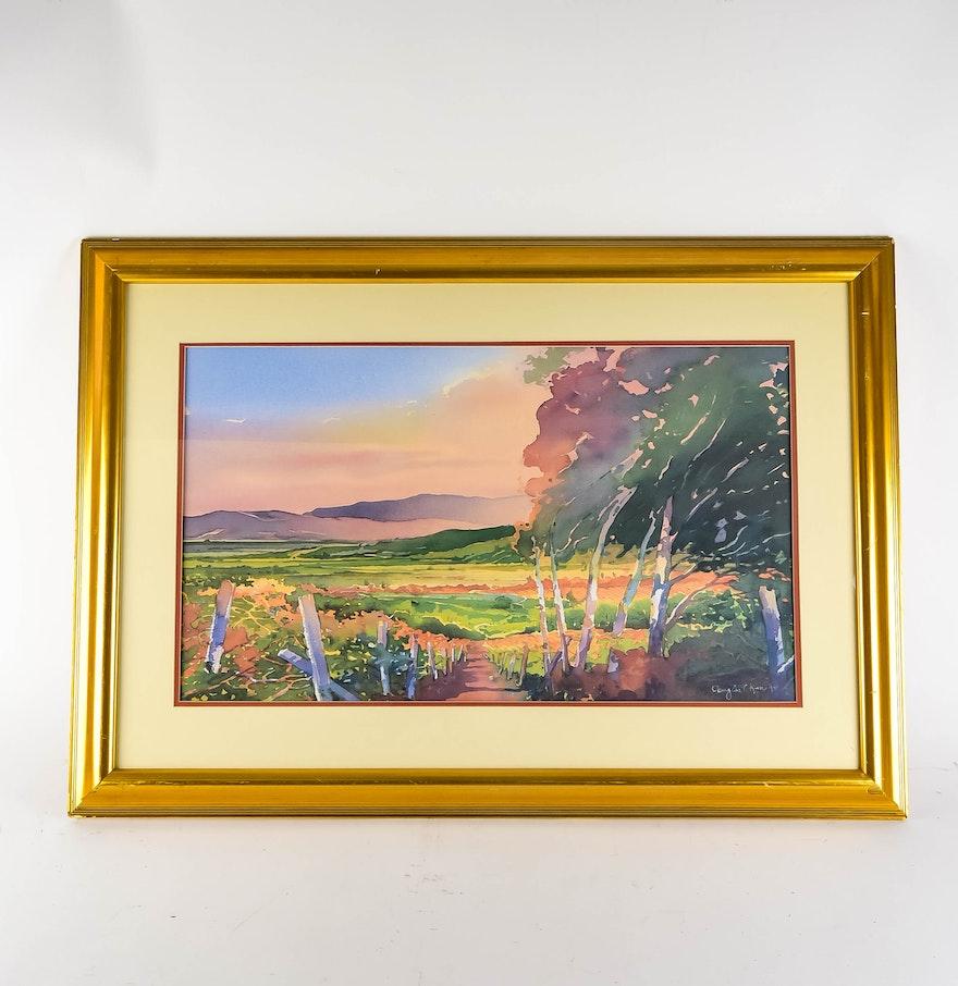Fine watercolor art for sale - Douglas Chun Original Watercolor Landscape