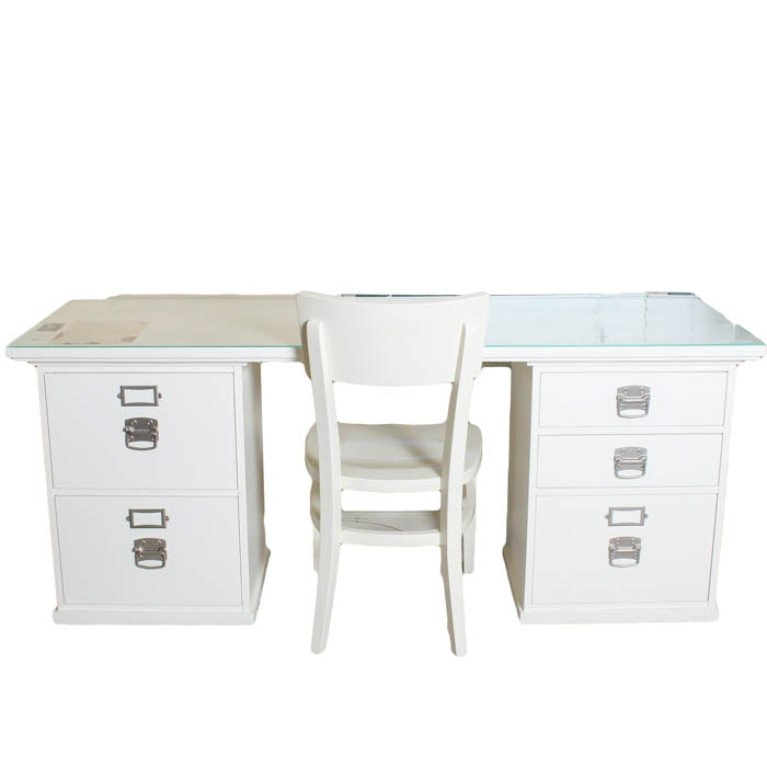 Pottery Barn White Wooden Desk with Plexiglass
