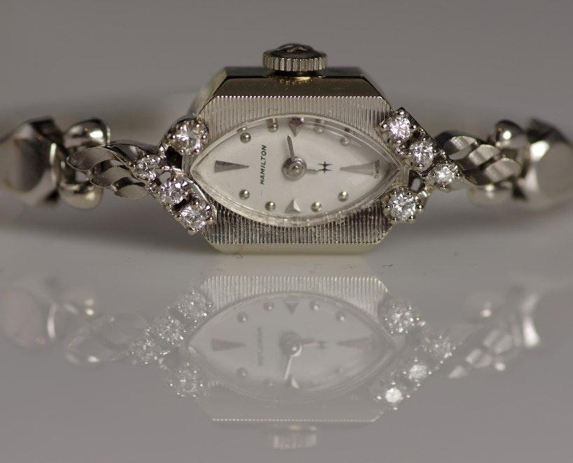 14K White Gold and Diamond Ladies Hamilton Wristwatch