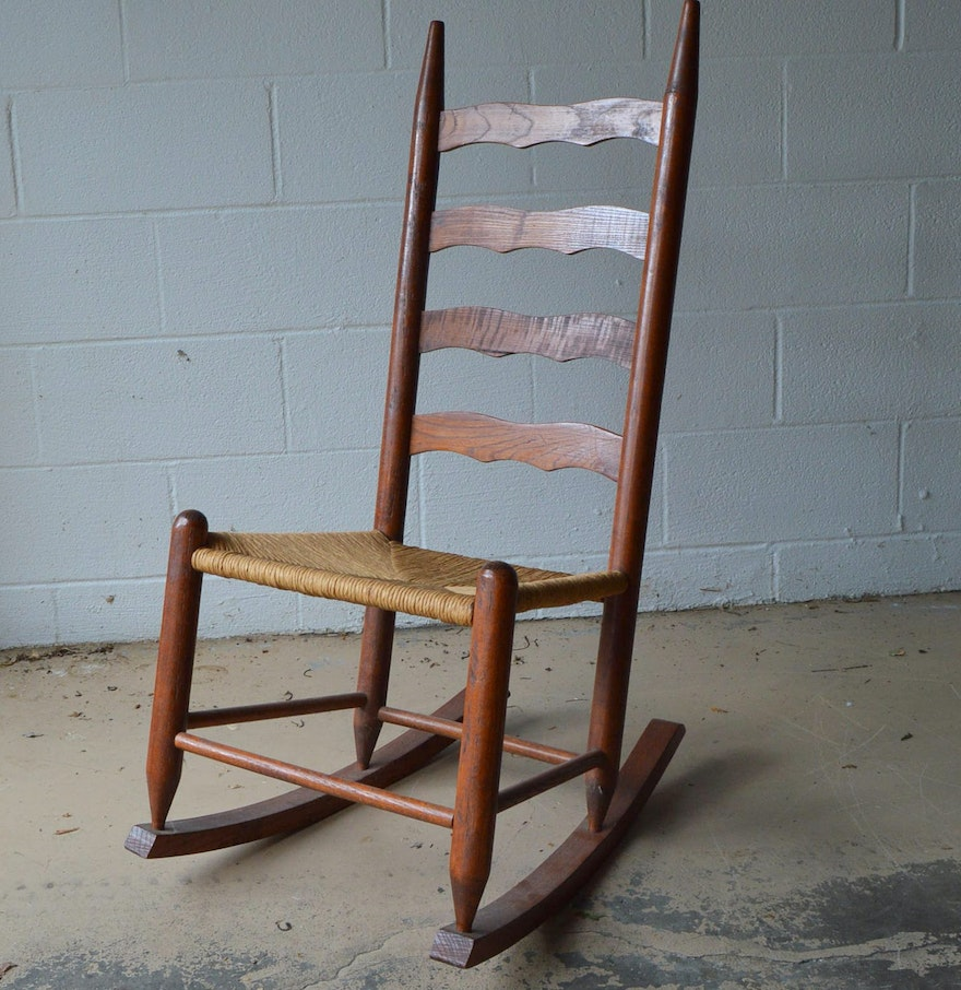 Ladder back rush seat rocking chair ebth Ladder back chairs