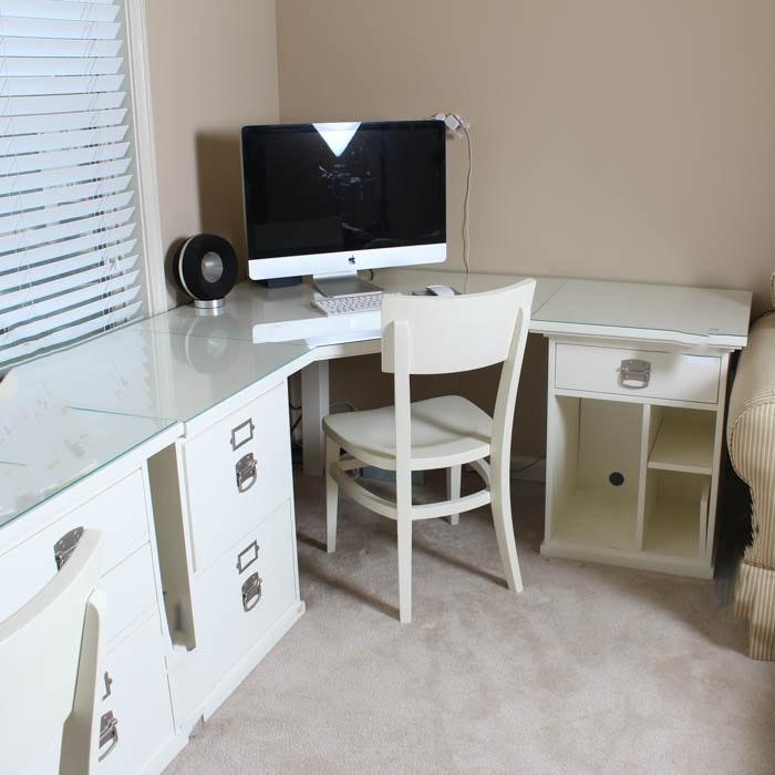 Pottery Barn White Corner Desk with Plexiglass