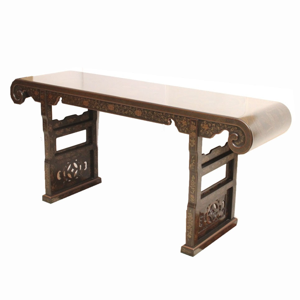 Chinoiserie Alter, Asian Hall or Sofa Table by Drexel Heritage