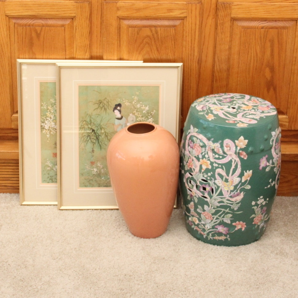 Asian Garden Stool And Offset Lithographs ...