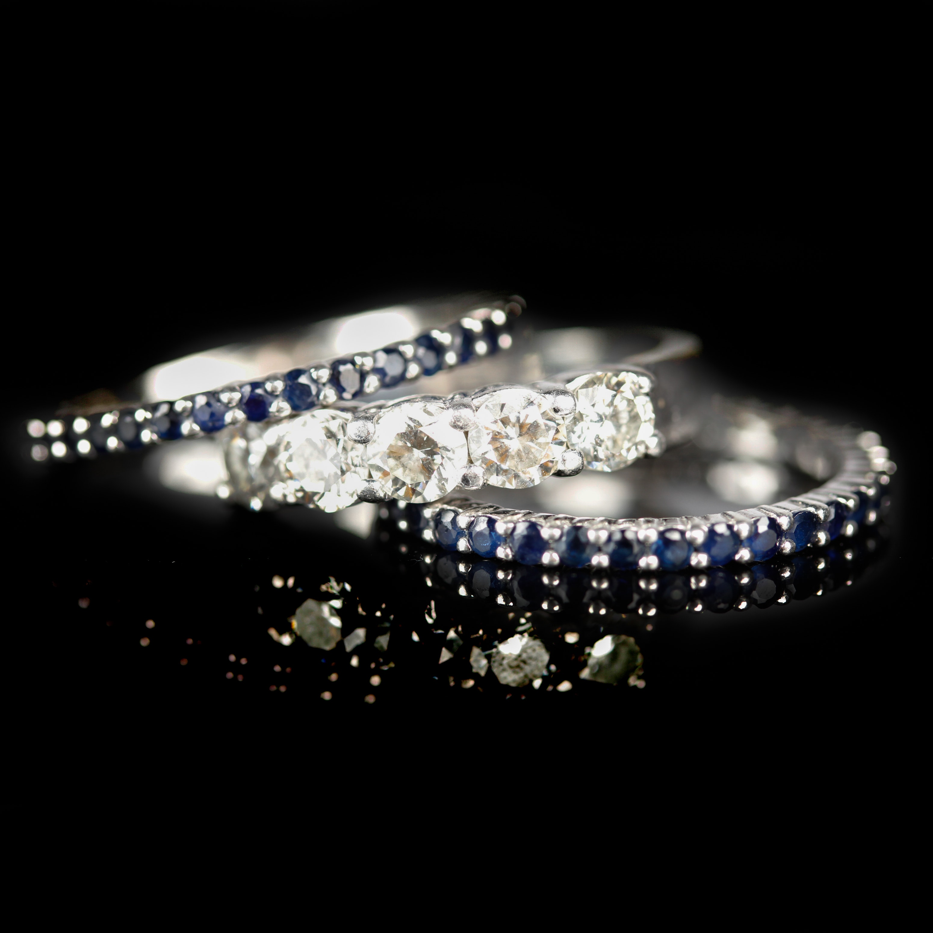 Platinum and Diamond Wedding Ring With Sterling and Sapphire Anniversary Rings