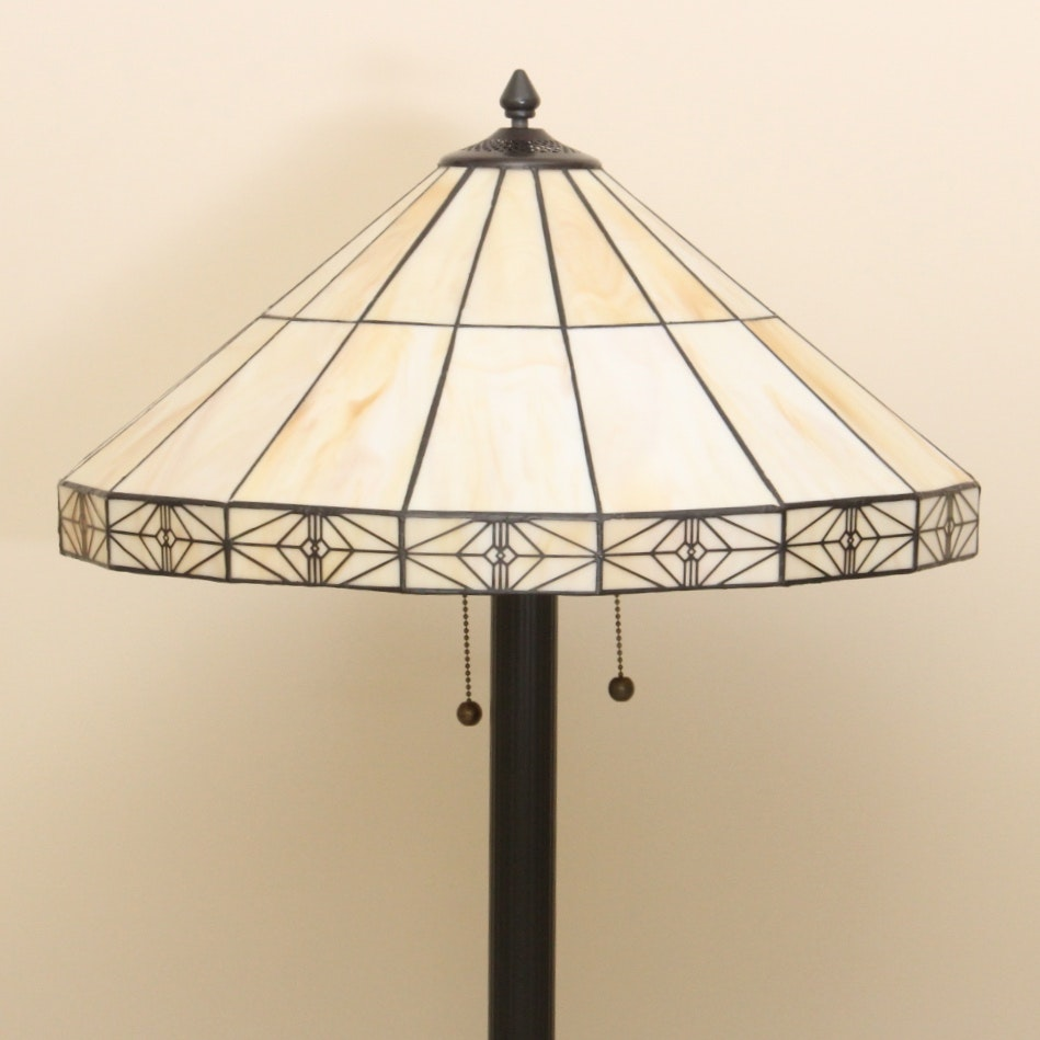Arts and Crafts Influenced Leaded Glass Floor Lamp