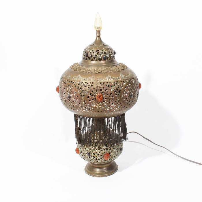 Pierced Tin Middle Eastern Style Table Lamp