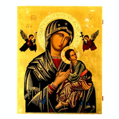 """Antique """"Our Mother of Perpetual Help"""" Tempera Icon"""
