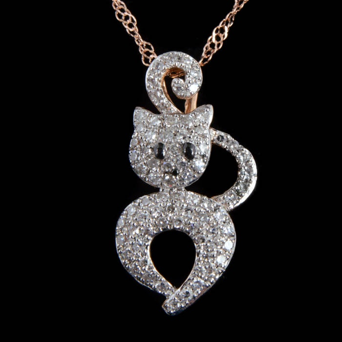 14K Two-Tone Gold and Diamond Cat Pendant with Chain