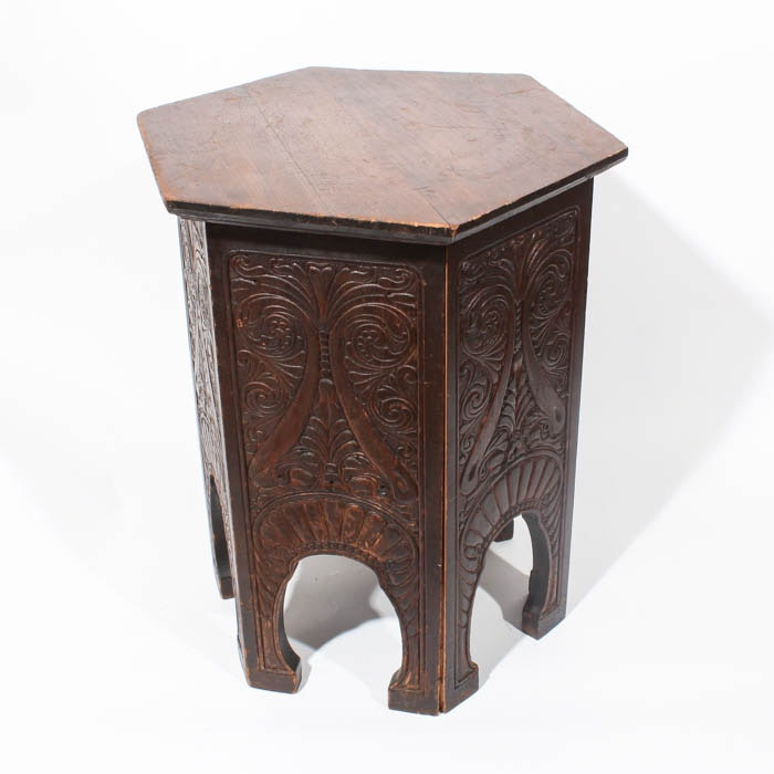 Six Sided Carved Wood Accent Table