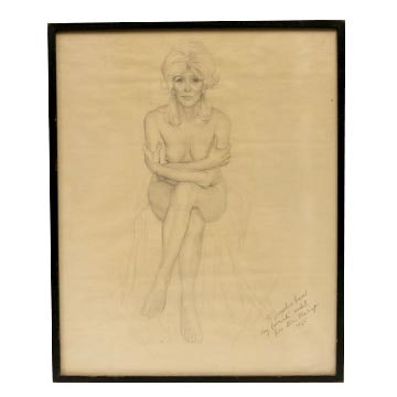 Boris f chaliapin original pencil drawing of jacqueline