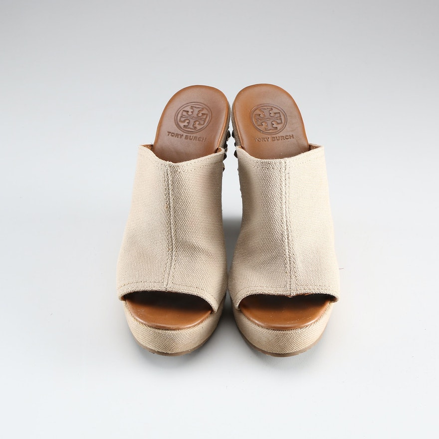 ccb0cab9fc7 Tory Burch Khaki Meredith Canvas Wedge   EBTH