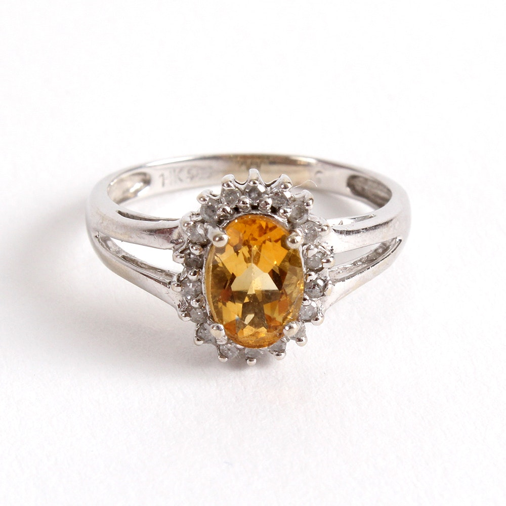 14K White Gold Yellow Topaz and Diamond Ring