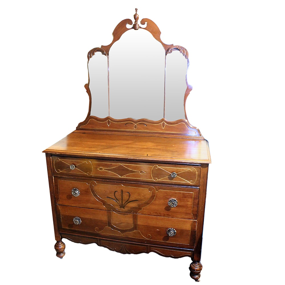 Vintage Art Deco Dresser with Inlaid Detailing and Tri-Sectioned Mirror