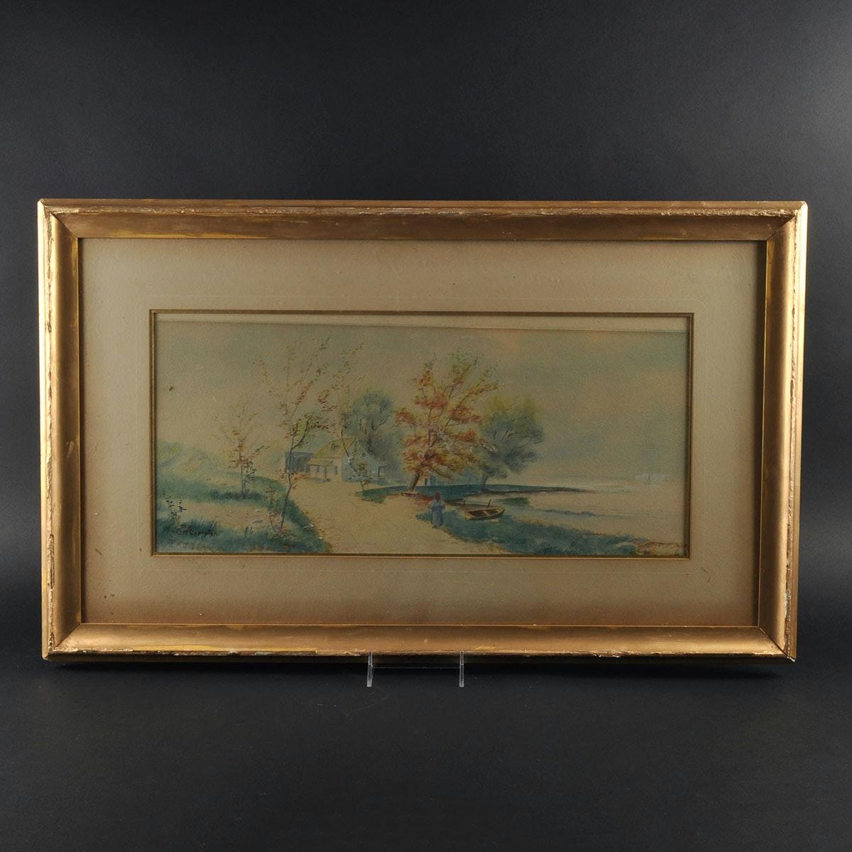 Original Watercolor Landscape by C.H. Compton