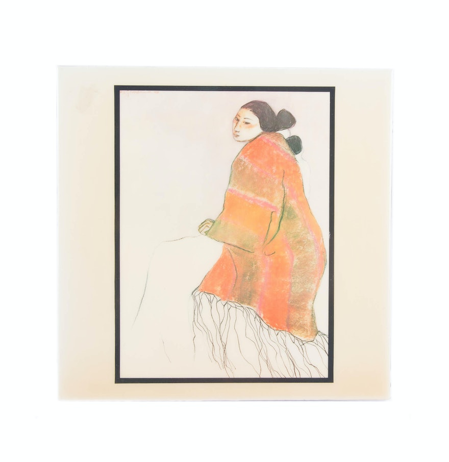Rc gorman santa fe woman decorative ceramic tile ebth rc gorman santa fe woman decorative ceramic tile dailygadgetfo Image collections
