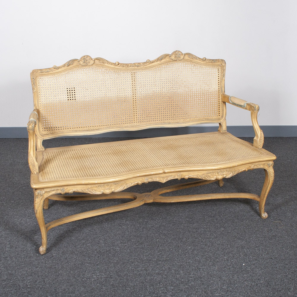 Vintage Double Caned Settee
