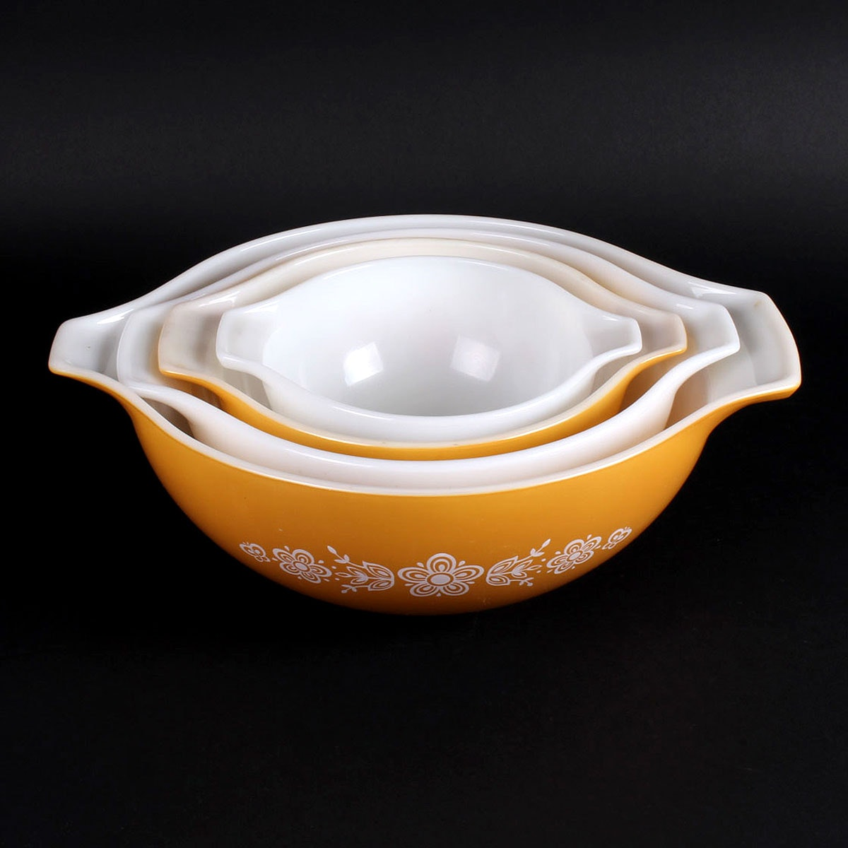 Yellow and White Pyrex Vintage Mixing Bowls
