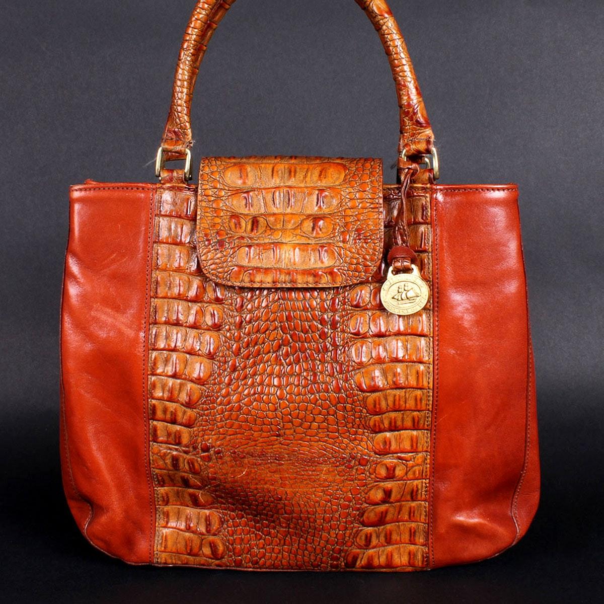 Brahmin Leather Handbag with Faux Croc Accents