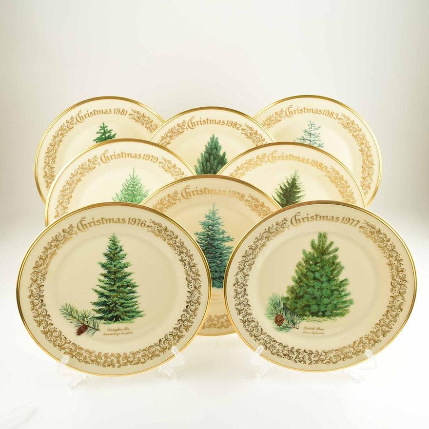 Lenox Christmas.Limited Lenox Annual Christmas Tree Plates 1976 1983