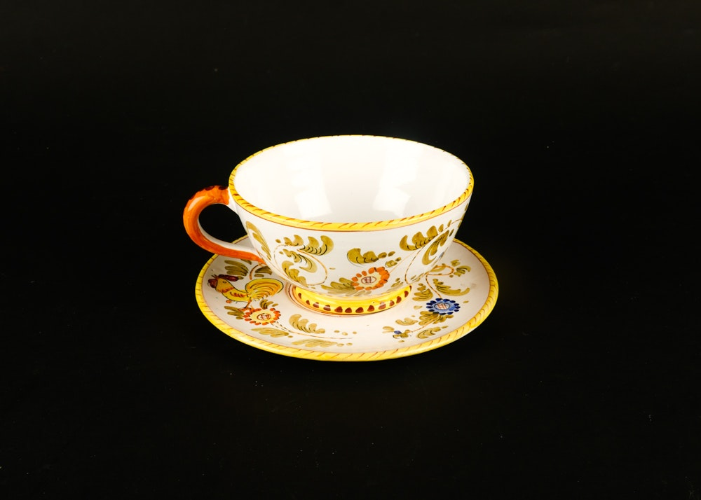 Large Italian Hand Painted Cup and Saucer