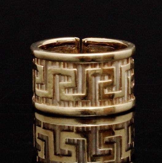 Ladies 14K Yellow Gold Greek Key Patterned Ring