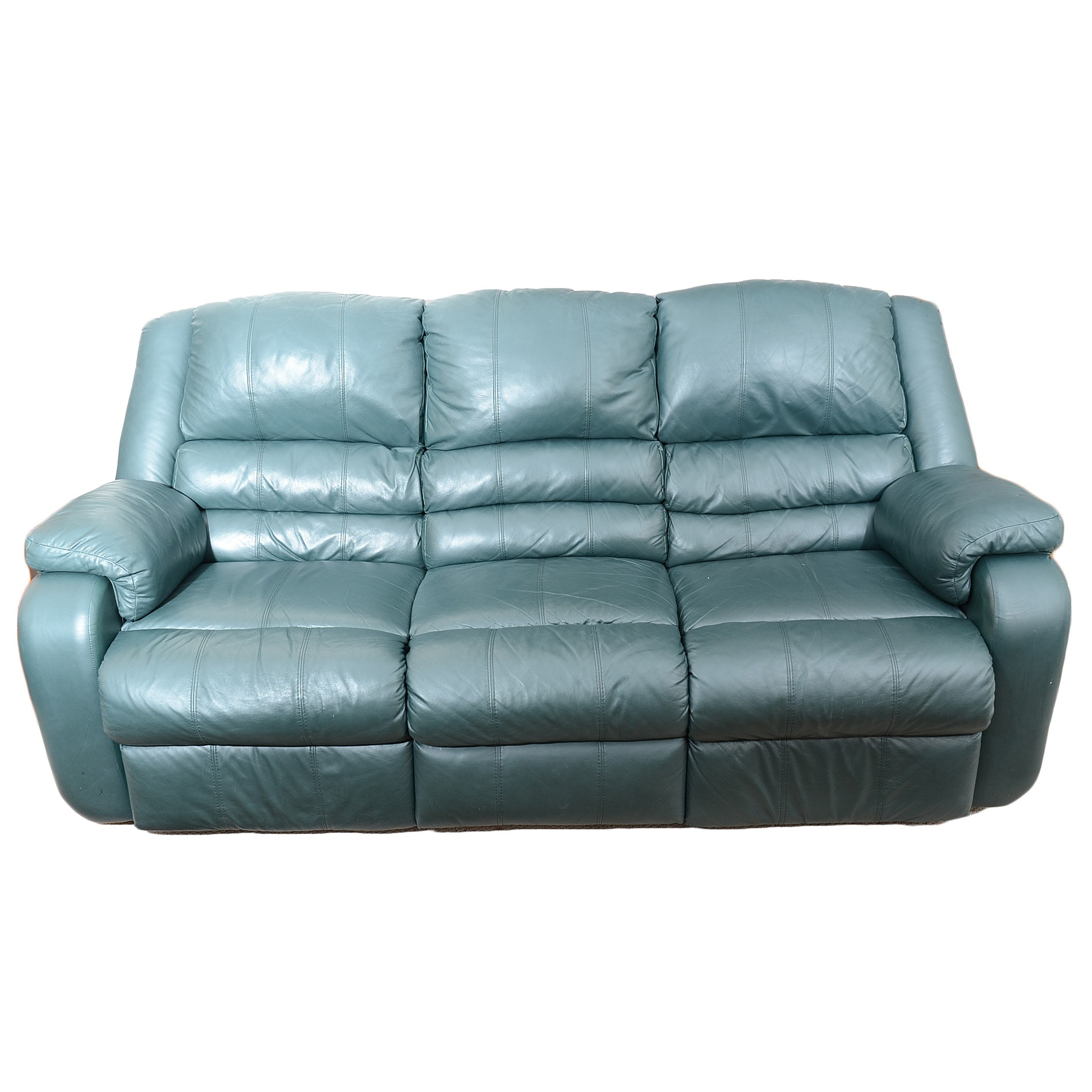 Sofa Express Hunter Green Leather Reclining Sofa ...