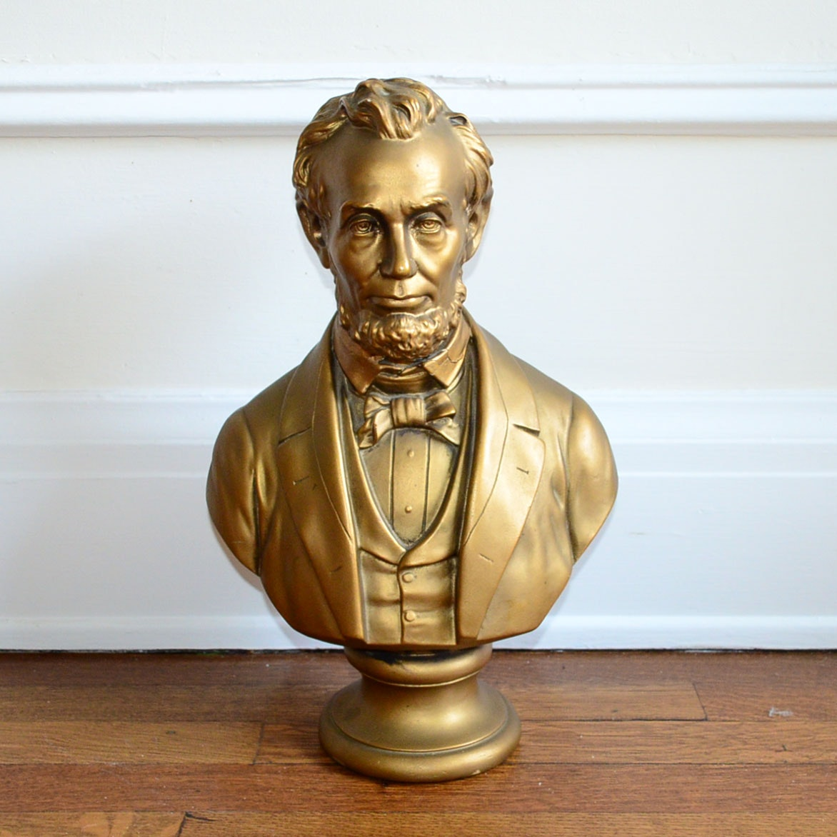 Gold Tone Plaster Lincoln Bust