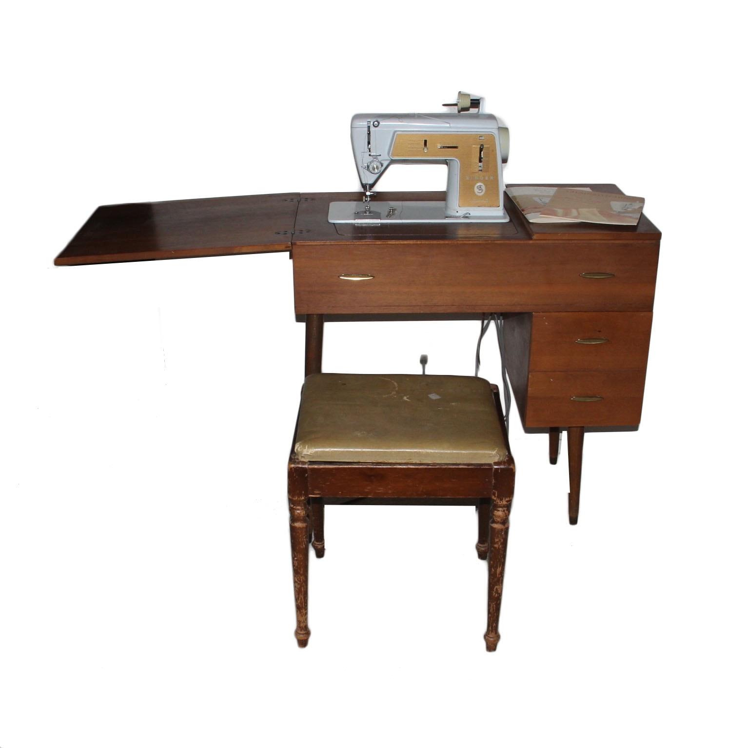 mid century sewing machine cabinet