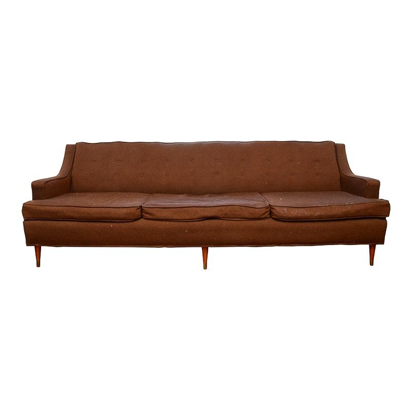 Mid Century Modern Dark Burgundy Cloth Sofa