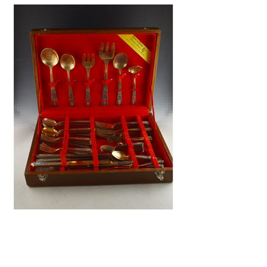 Star of Siam Bronze Ware Flatware Set of Twelve and Storage Box : EBTH