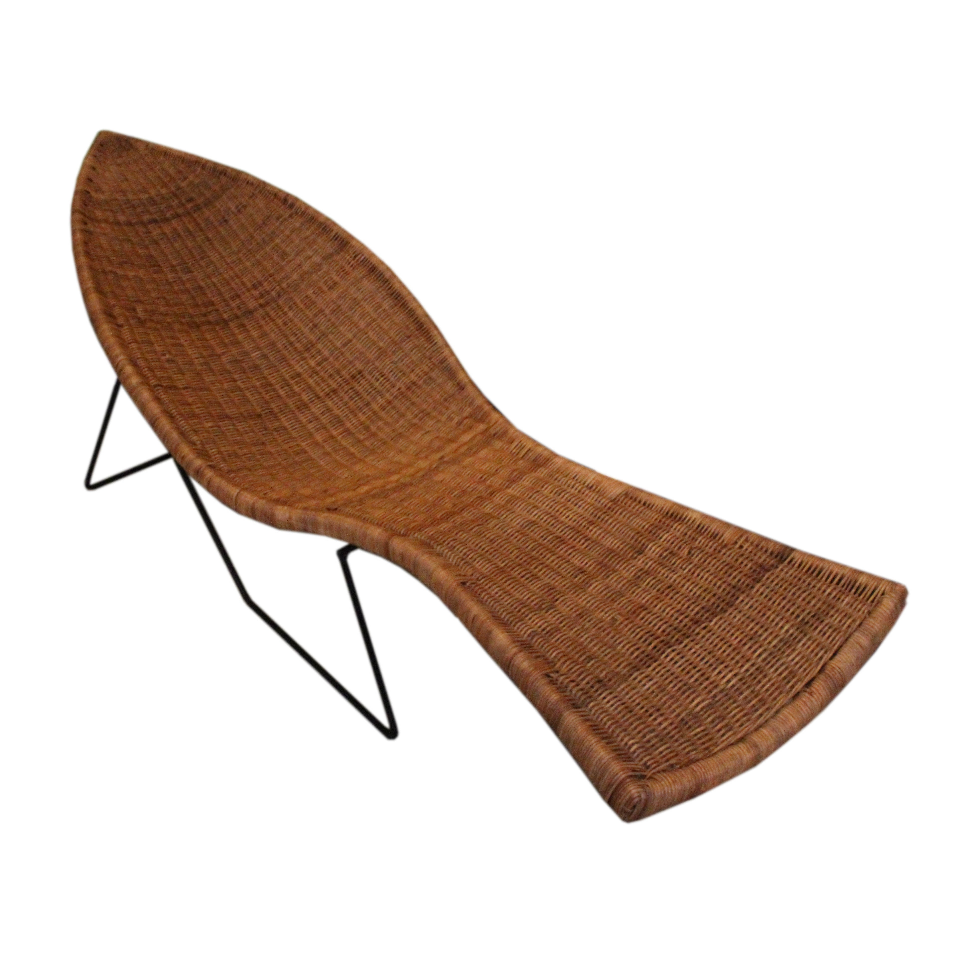 """Vintage Mid-Century Tropi-Cal Wicker """"Fish"""" Lounge Chair"""