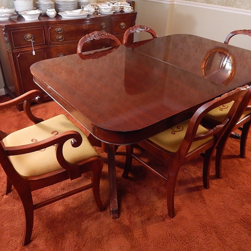 Prime Vintage Mahogany Duncan Phyfe Style Dining Table And Six Chairs Home Interior And Landscaping Ologienasavecom