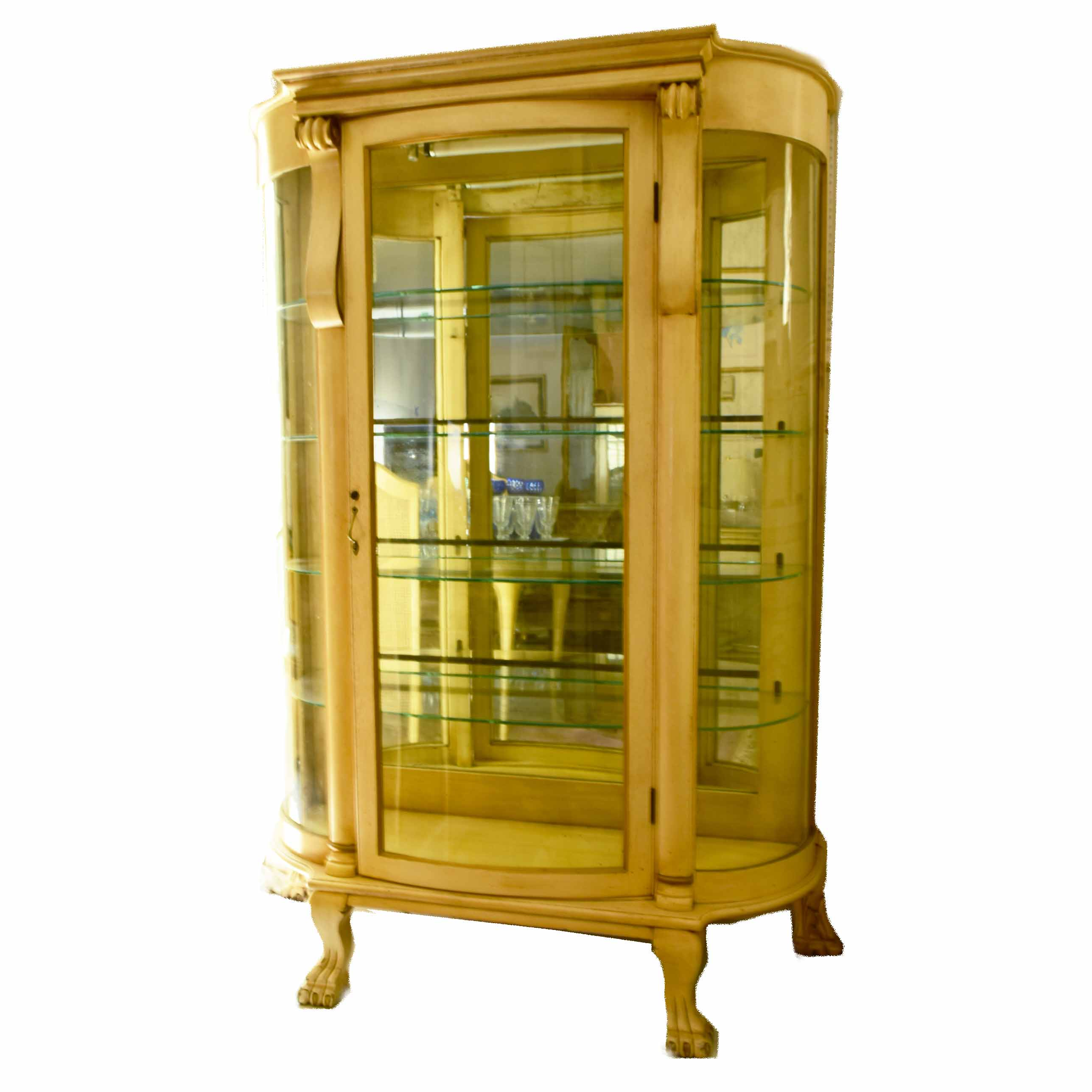 Vintage French Provincial Curved Glass Lighted Curio Cabinet : EBTH