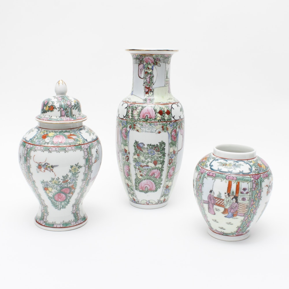 Enamel Hand Painted Asian Urns