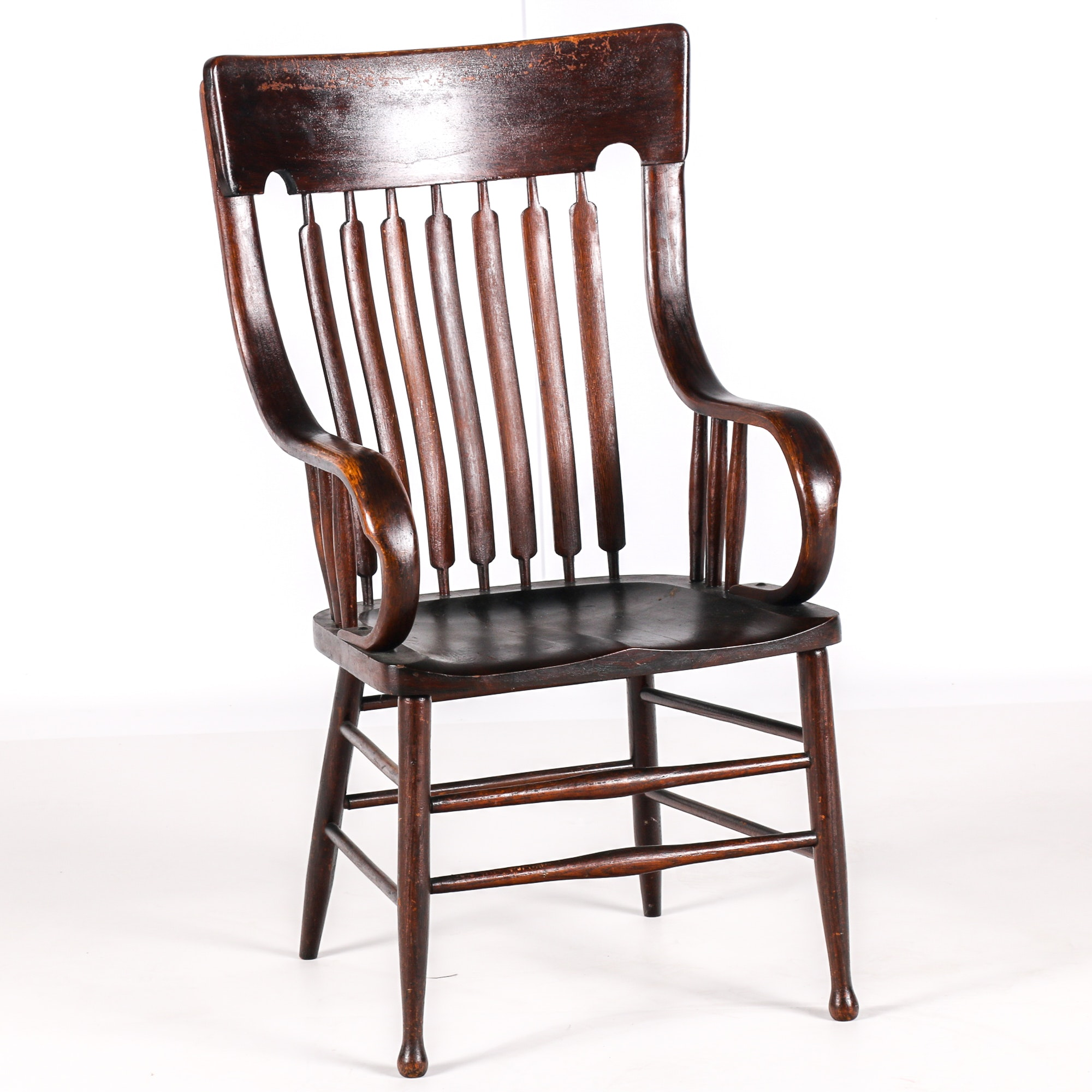 Antique Wooden Library Chair With Cattail Spindle Back ...