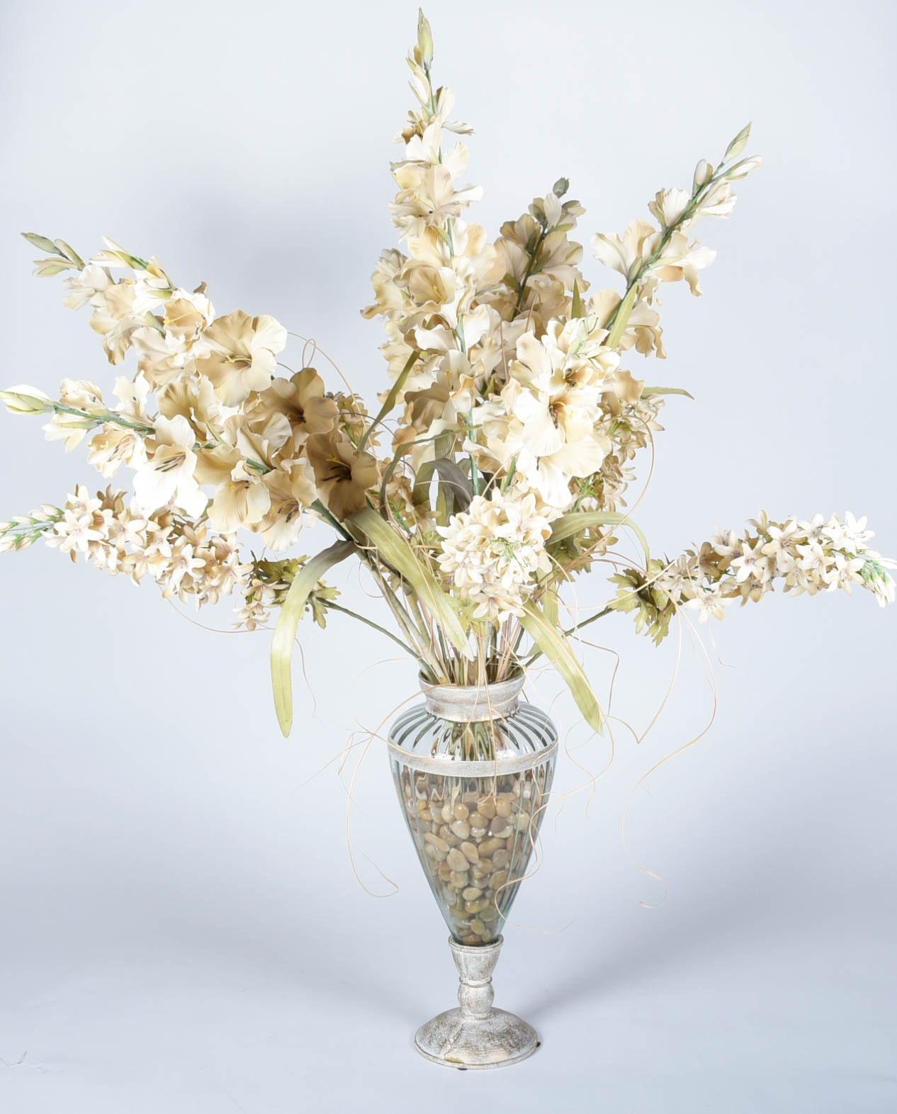Decorative Vase With Faux Holly Hock Flowers Ebth