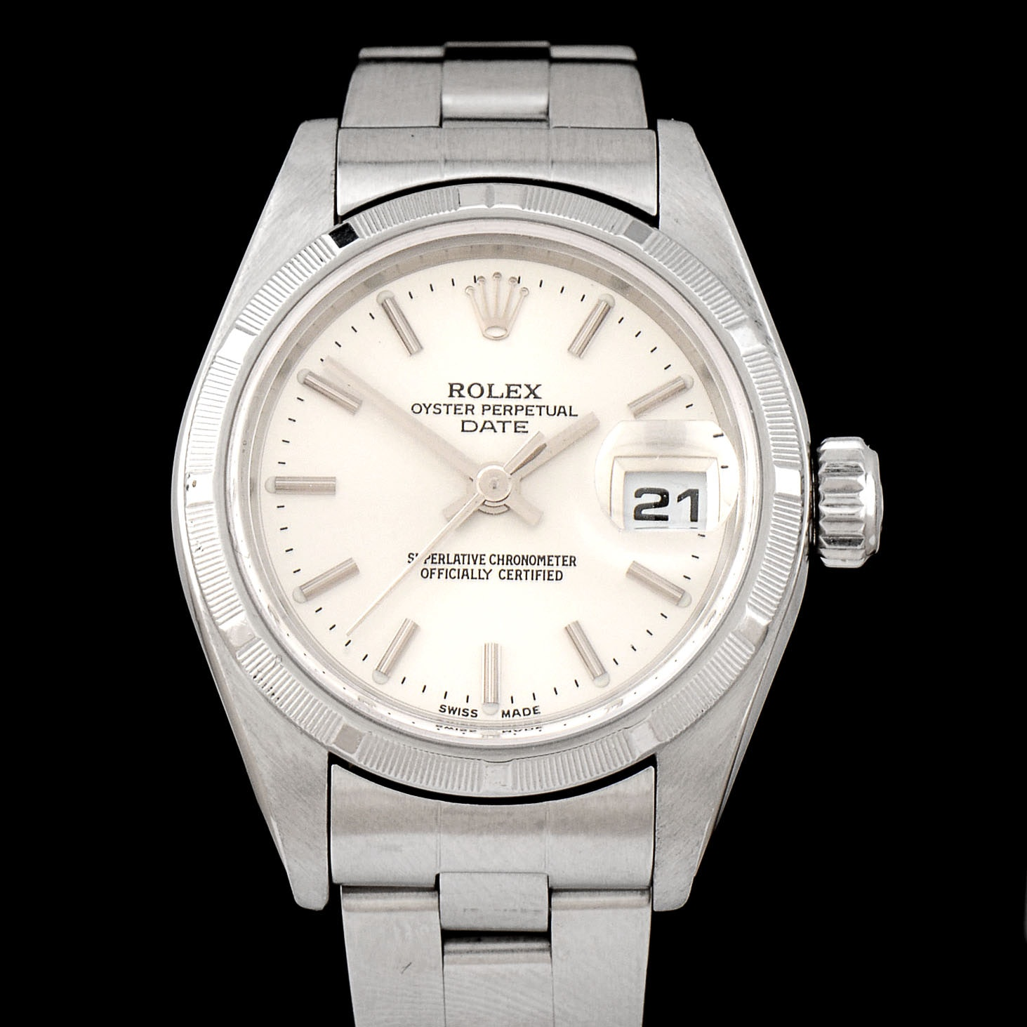 Women's Rolex Perpetual Date Stainless Steel Silver Index Oyster Perpetual Date Wristwatch
